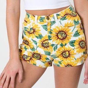 American Apparel High Waisted Sun Flower Shorts